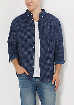 Dotted Gauze Button Down