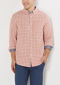 Coral Gingham Button Down