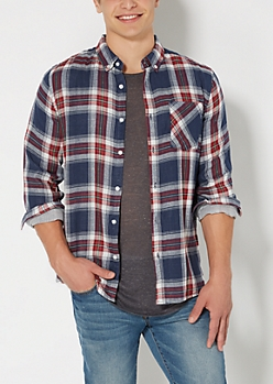 Red Plaid Lined Button Down