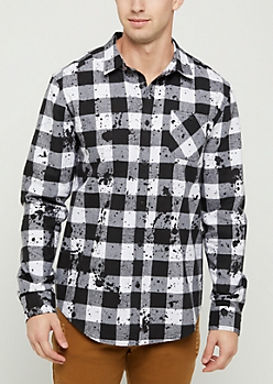 Black Paint Splattered Buffalo Check Shirt
