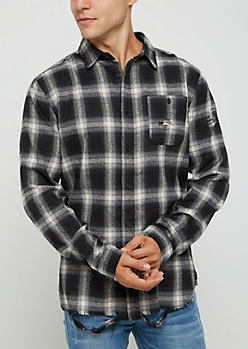 Black & White Destroyed Button Down Shirt