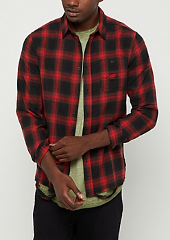 Red & Black Destroyed Button Down Shirt
