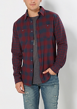 Burgundy & Navy Mixed Plaid Flannel