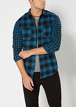 Turquoise & Black Mixed Plaid Flannel