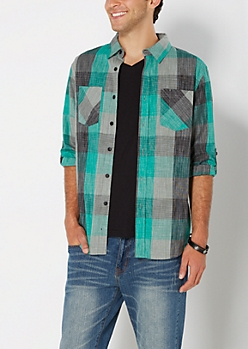 Green Buffalo Check Button Down