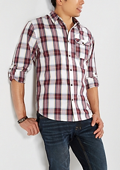 Burgundy Tartan Plaid Button Down