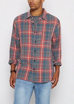 Red Vintage Plaid Flannel Shirt