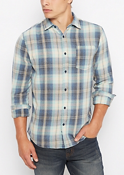 Washed Blue Plaid Flannel Shirt