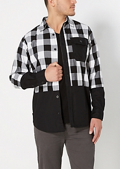 White Buffalo Check Pieced Shirt