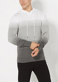 Gray Color Block Hooded Sweater