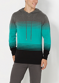 Teal Color Block Hooded Sweater