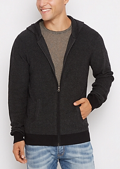 Black Marled Ribbed Sweater Hoodie