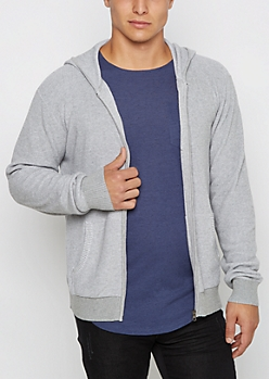 Gray Marled Ribbed Sweater Hoodie