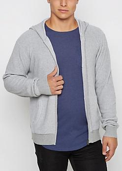 Gray Marled Ribbed Sweater Hoodie