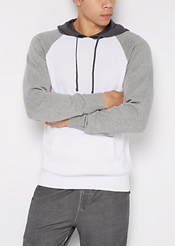 White Color Block Raglan Knit Hoodie