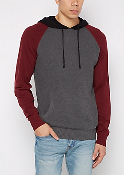 Charcoal Color Block Raglan Knit Hoodie