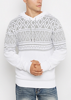 White Geo Knit Hooded Sweater