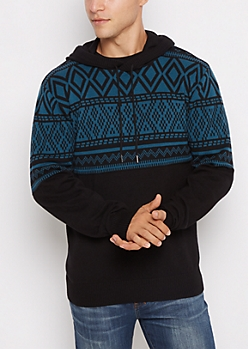 Blue Geo Knit Hooded Sweater