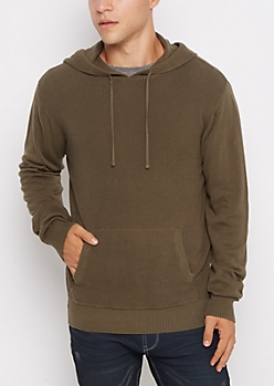 Olive Thermal Hoodie Sweater