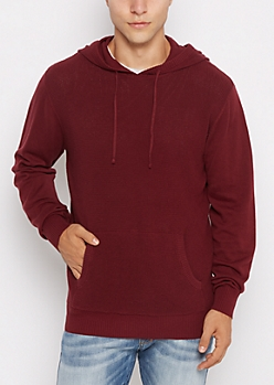 Burgundy Thermal Hoodie Sweater