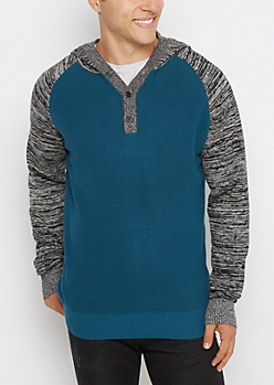 Blue Raglan Henley Space Dye Hooded Sweater