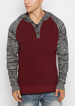 Burgundy Raglan Henley Space Dye Hooded Sweater