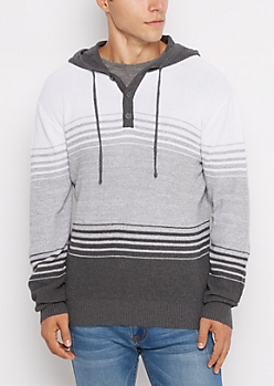 Gray Striped Hooded Henley Sweater
