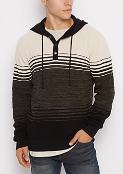 Oatmeal Striped Hooded Henley Sweater