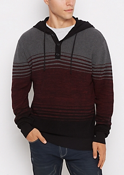 Burgundy Striped Hooded Henley Sweater