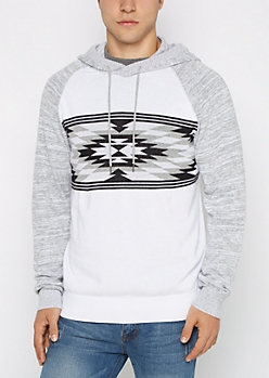 Gray Aztec Space Dye Hooded Sweater