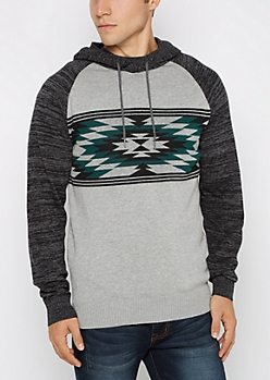 Teal Aztec Space Dye Hooded Sweater