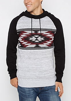 Burgundy Aztec Space Dye Hooded Sweater