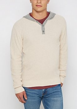 Oatmeal Henley Hooded Sweater