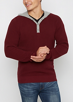 Burgundy Henley Hooded Sweater
