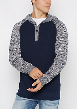 Navy Space Dye Raglan Henley Hooded Sweater