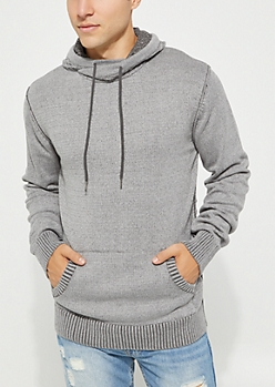 Gray Cable Hooded Sweater