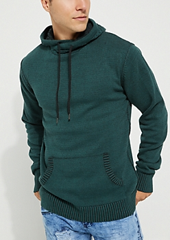 Teal Cable Hooded Sweater
