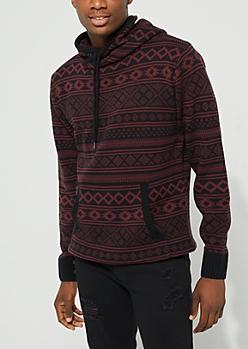 Burgundy Aztec Pattern Knit Hoodie