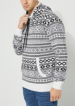 White Aztec Pattern Knit Hoodie