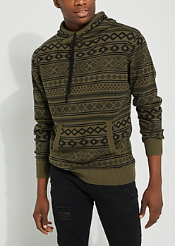 Olive Aztec Pattern Knit Hoodie