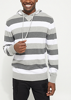 Gray Tri-Striped Hooded Sweater
