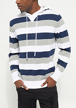 Navy Tri-Striped Hooded Sweater