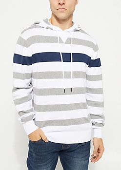 White Contrast Striped Hooded Sweater