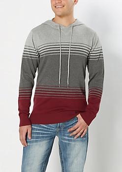 Burgundy Graduated Stripe Sweater Hoodie