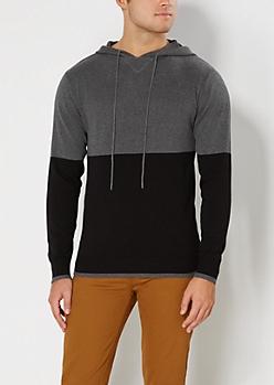 Charcoal & Black Blocked Sweater Hoodie