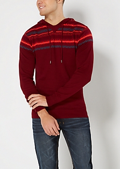 Burgundy Fair Isle Sweater Hoodie