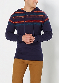 Navy Fair Isle Sweater Hoodie