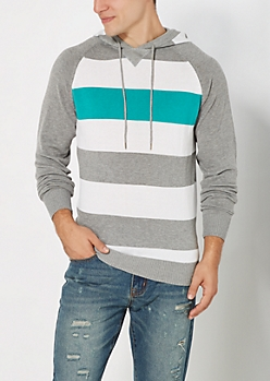 Teal Striped Hooded Sweater