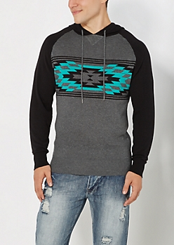 Teal Aztec Hooded Sweater