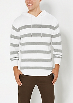 White Striped Hooded Pullover